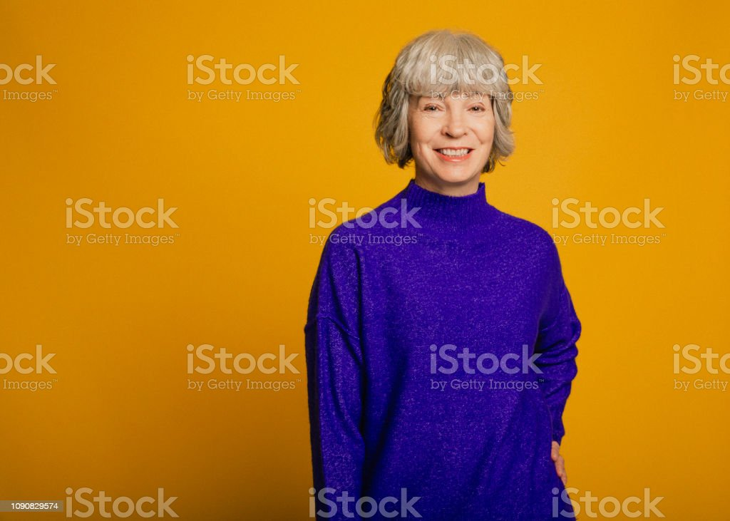 Portrait of a Smiling Mature Woman stock photo