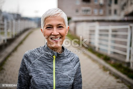 Portrait of a sporty smiling mature woman