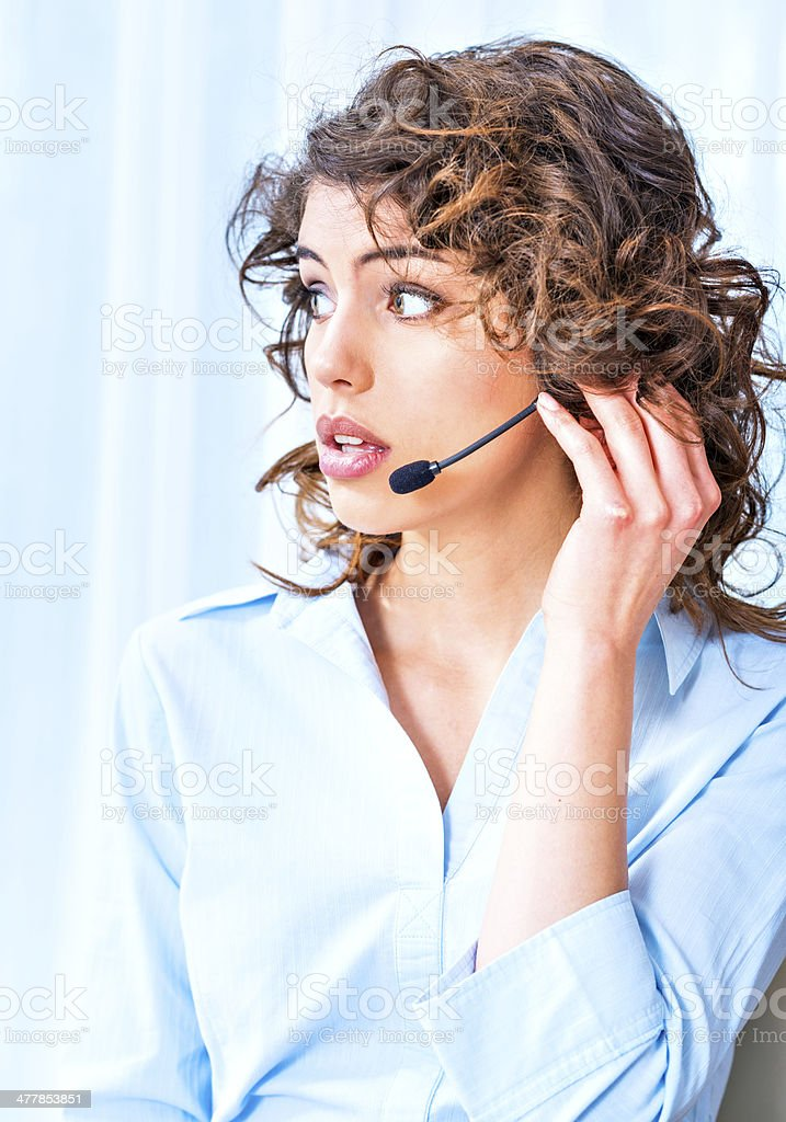 Portrait of a smiling operator royalty-free stock photo