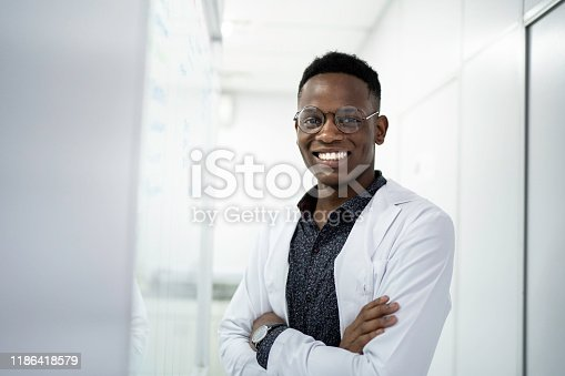 Portrait of a smiling scientist at laboratory