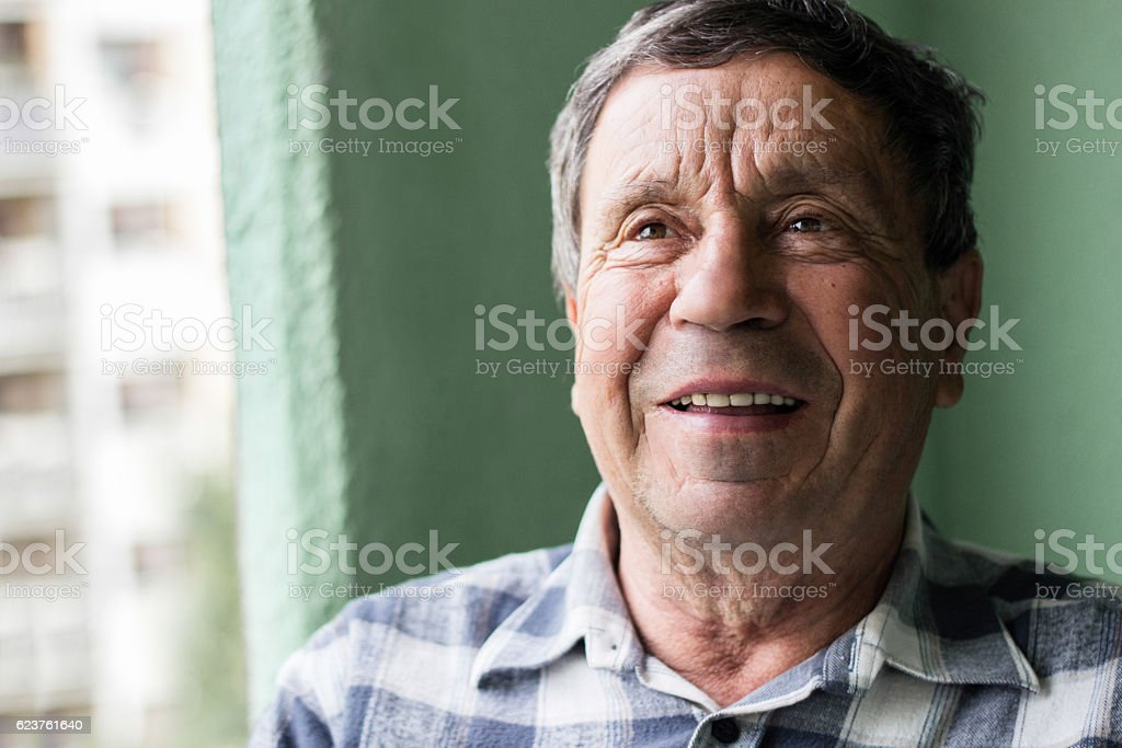 Portrait of a smiling senior man stock photo