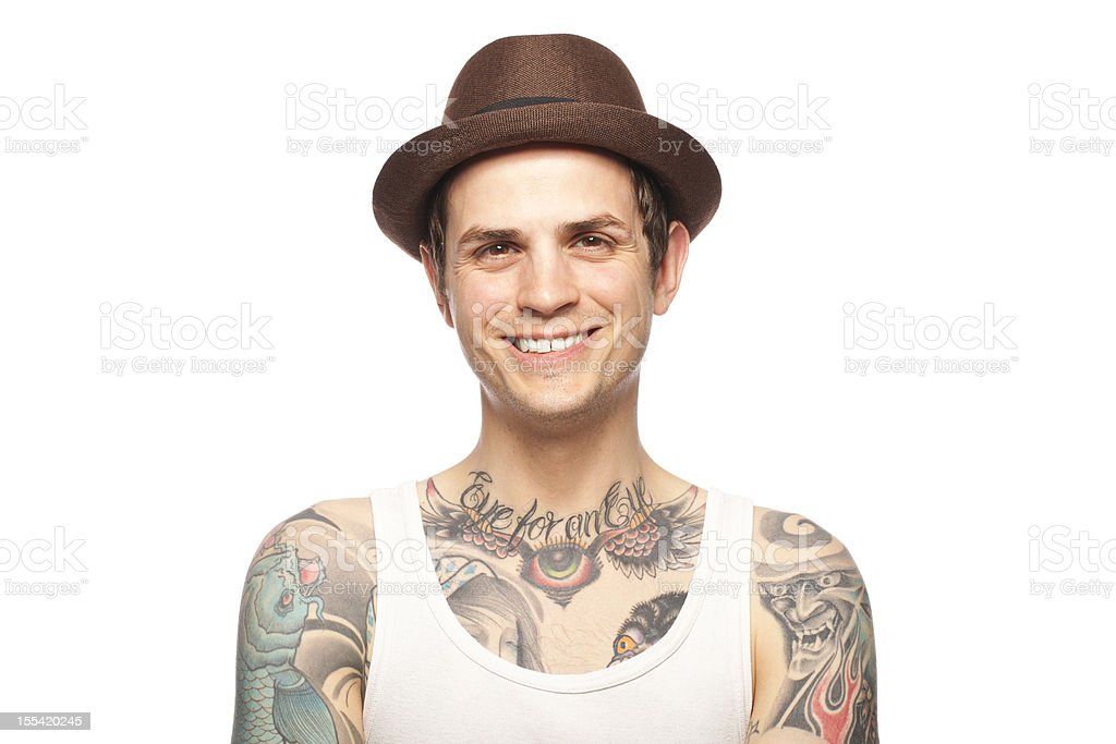 Portrait of a smiling tattooed man stock photo