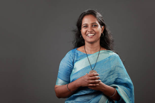 Portrait of a smiling woman of Indian origin stock photo