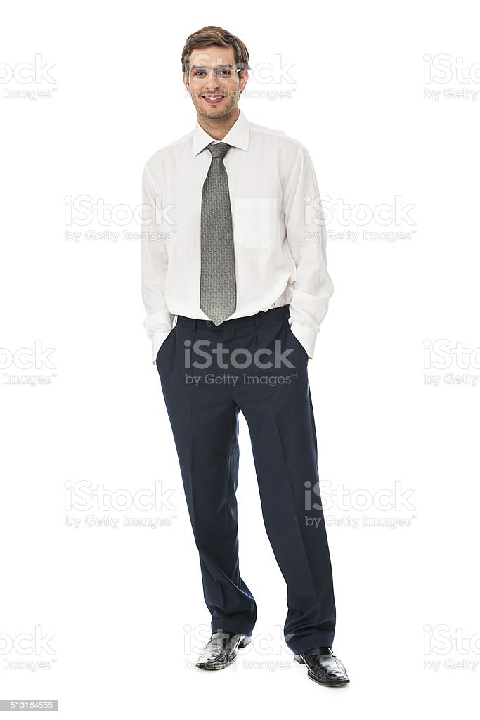 Portrait of a smiling young businessman stock photo