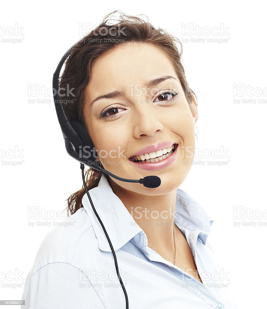 Portrait of a smiling young call center employee royalty-free stock photo