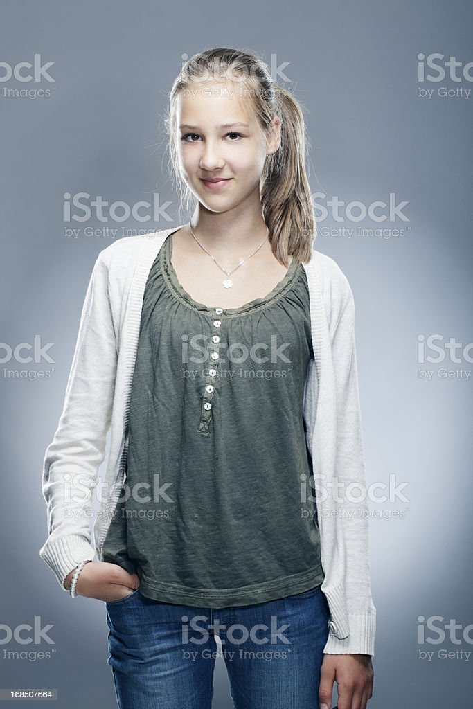 Portrait of a smiling young child stock photo