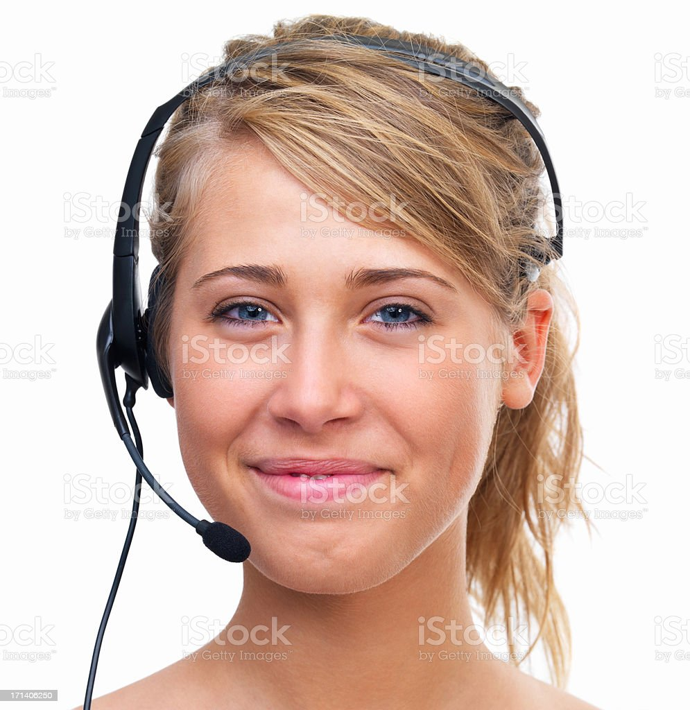 Portrait of a smiling young lady with headset royalty-free stock photo