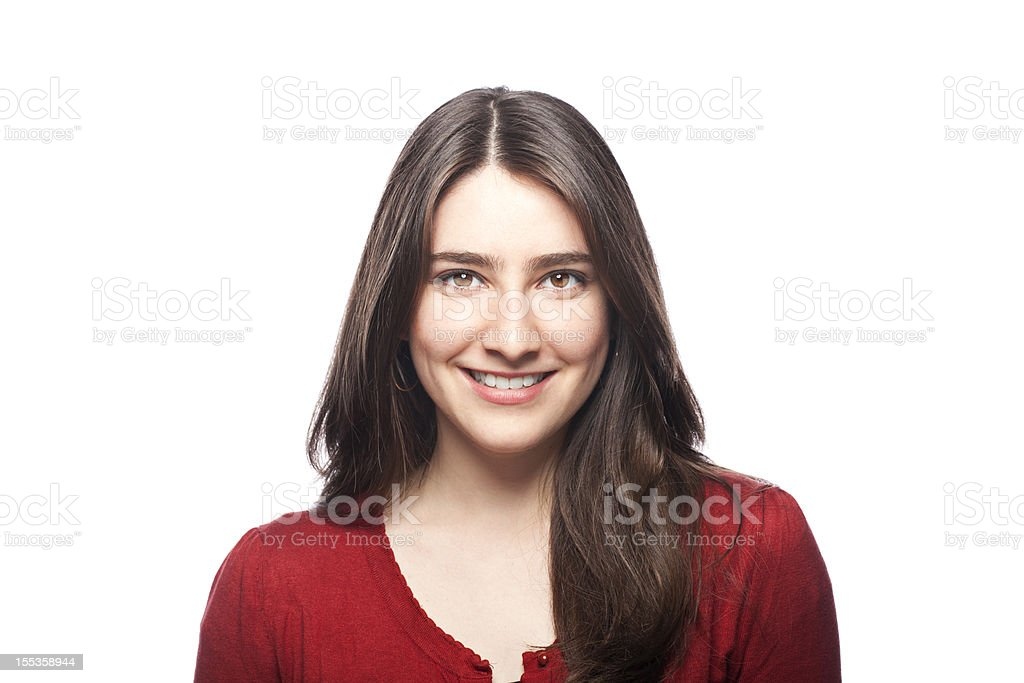 Portrait of a smiling young woman stock photo