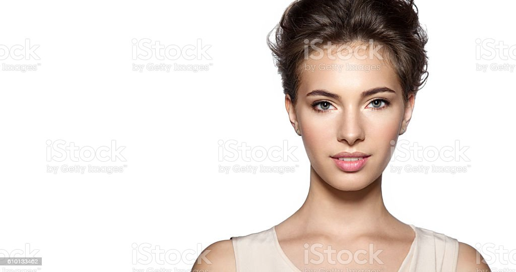 Portrait of a  smiling young  woman with natural make-up stock photo