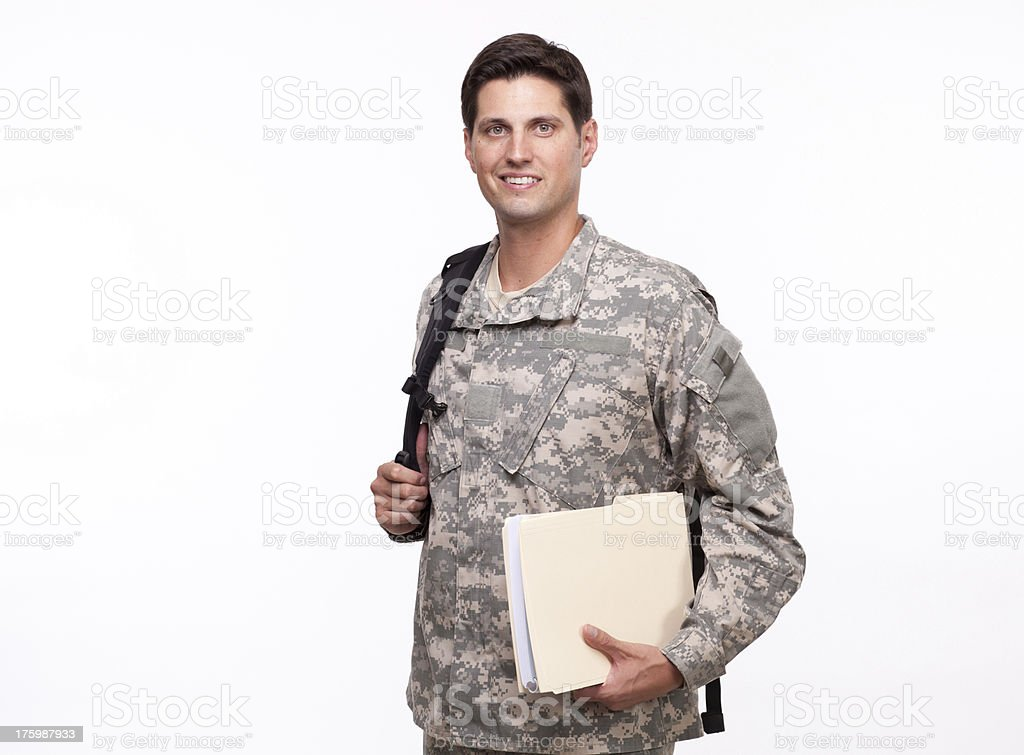 Portrait of a soldier with backpack and documents royalty-free stock photo