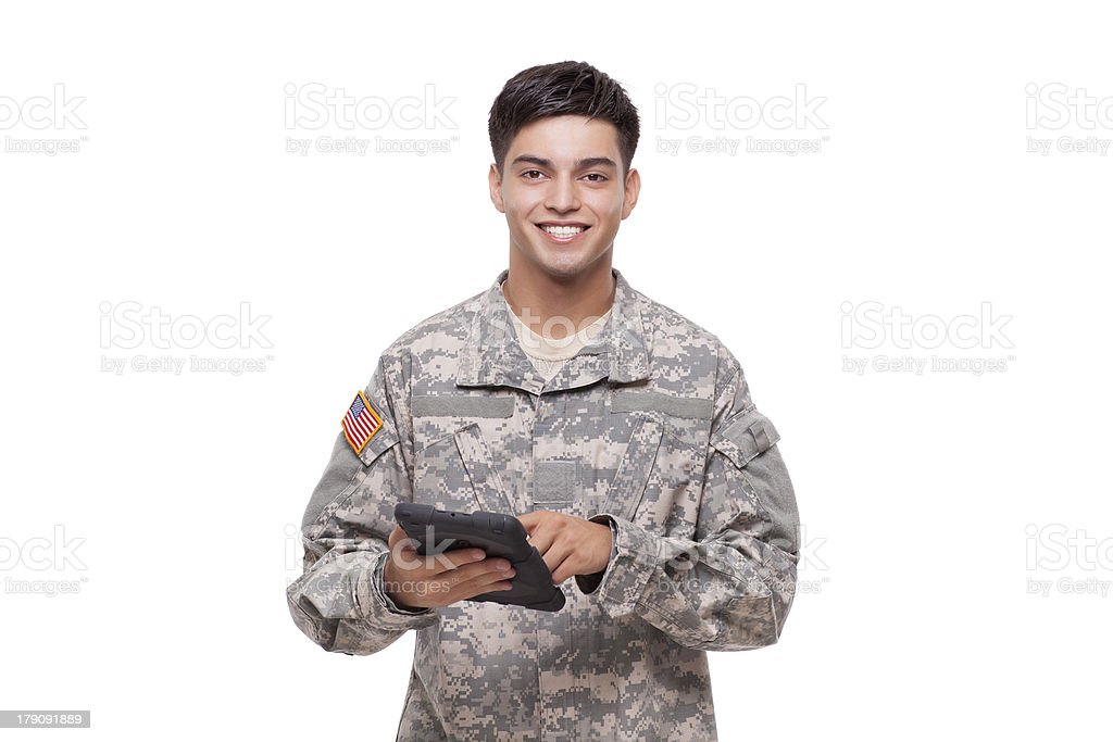 Portrait of a soldier with  digital tablet stock photo