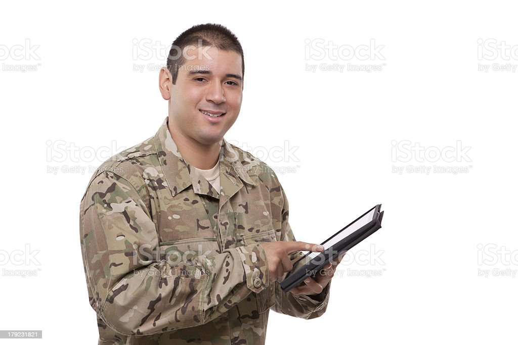 Portrait of a soldier with digital tablet royalty-free stock photo