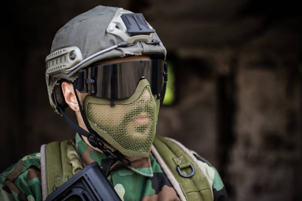 Portrait of a soldier with helmet stock photo