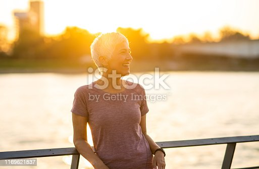 Cheerful senior woman enjoying a healthy lifestyle.