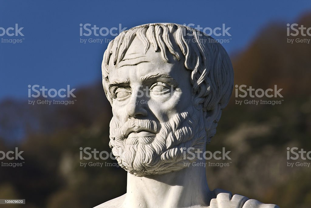 Portrait of a stones statue of Aristotle on a sunny day stock photo