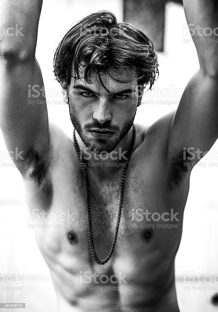 portrait of a strong male model stock photo