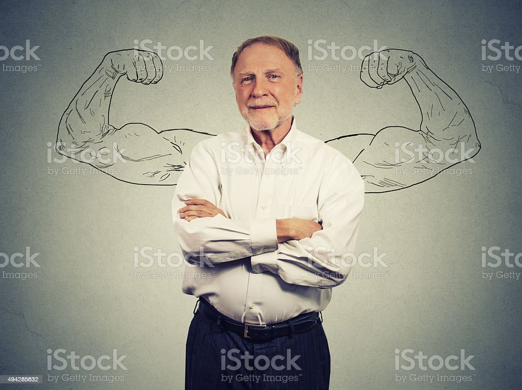 Portrait of a strong Old Man stock photo