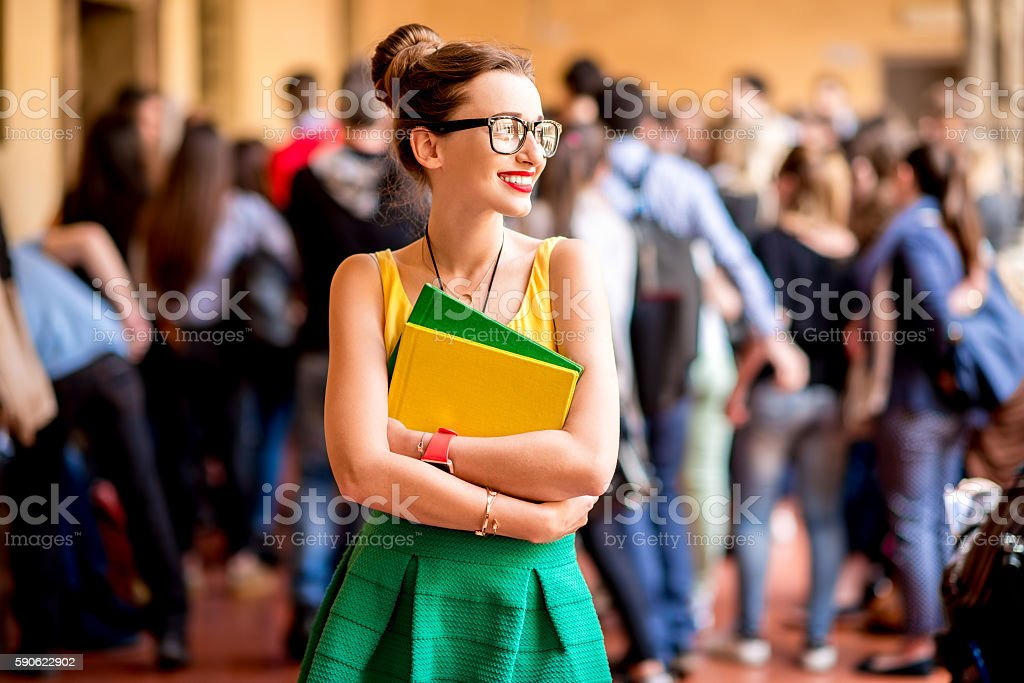 Portrait of a student at the old university stock photo