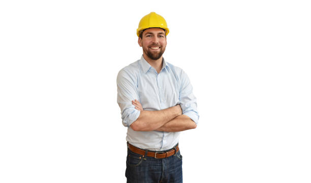 portrait of a successful engineer in mechanical engineering in industry on white background stock photo