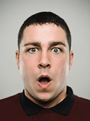 istock Portrait of a surprised young caucasian man. 1072425260