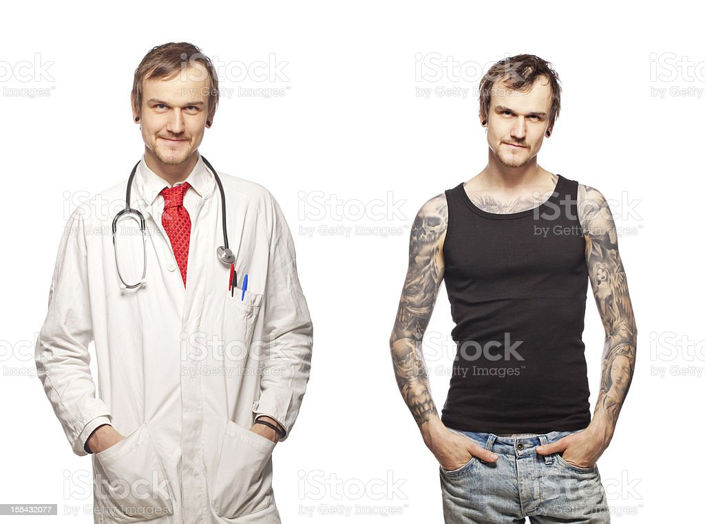 Portrait of a tattooed doctor stock photo