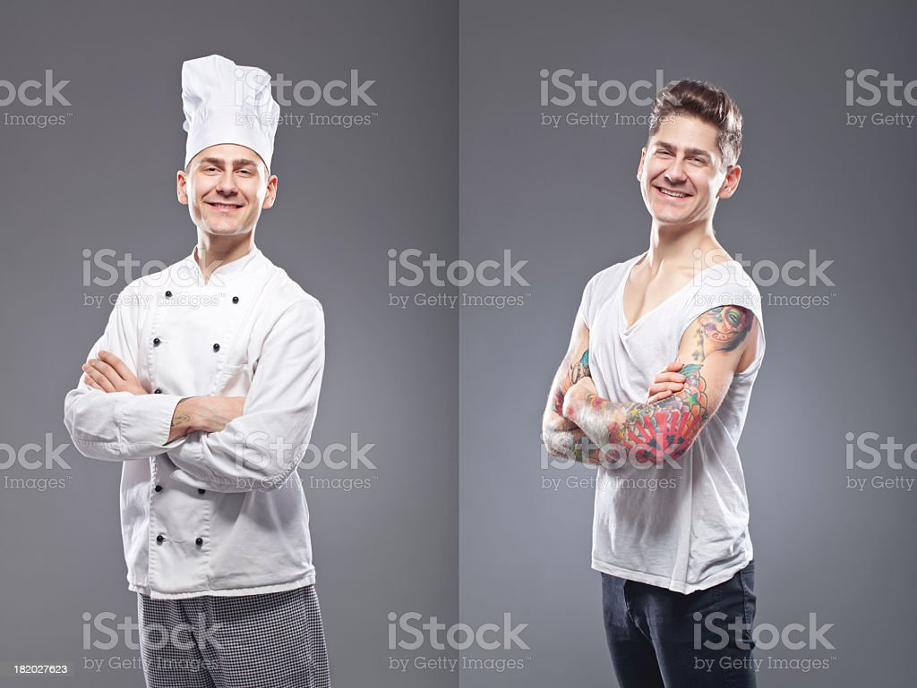Portrait of a tattooed man smiling royalty-free stock photo