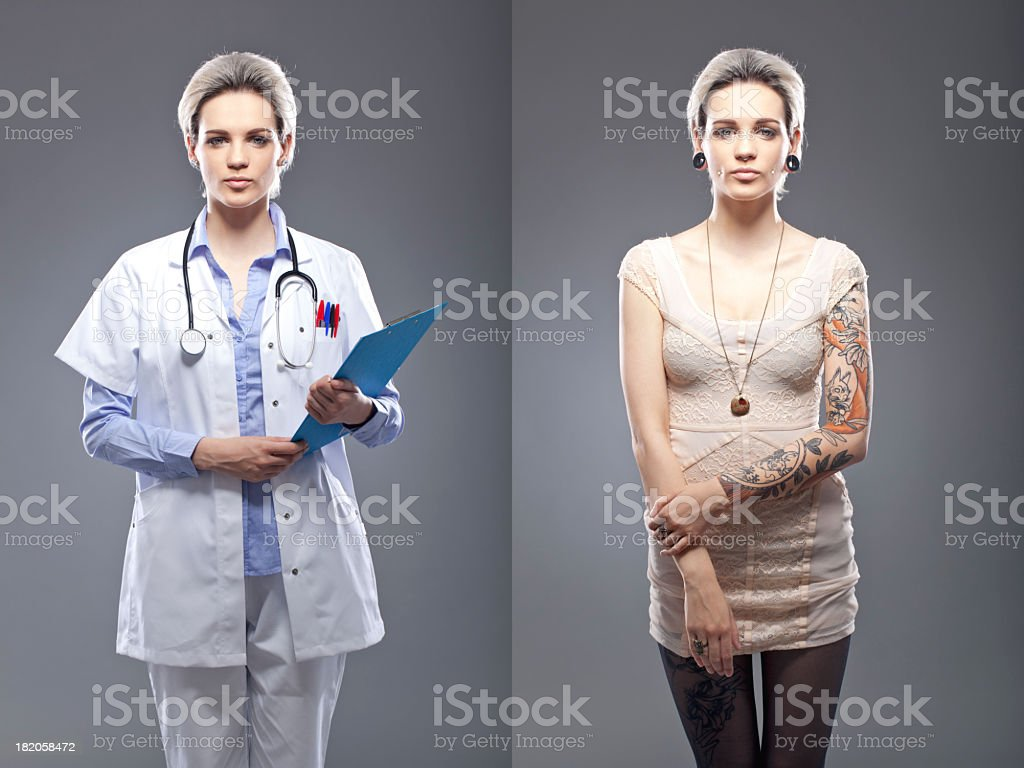 Portrait of a tattooed person stock photo