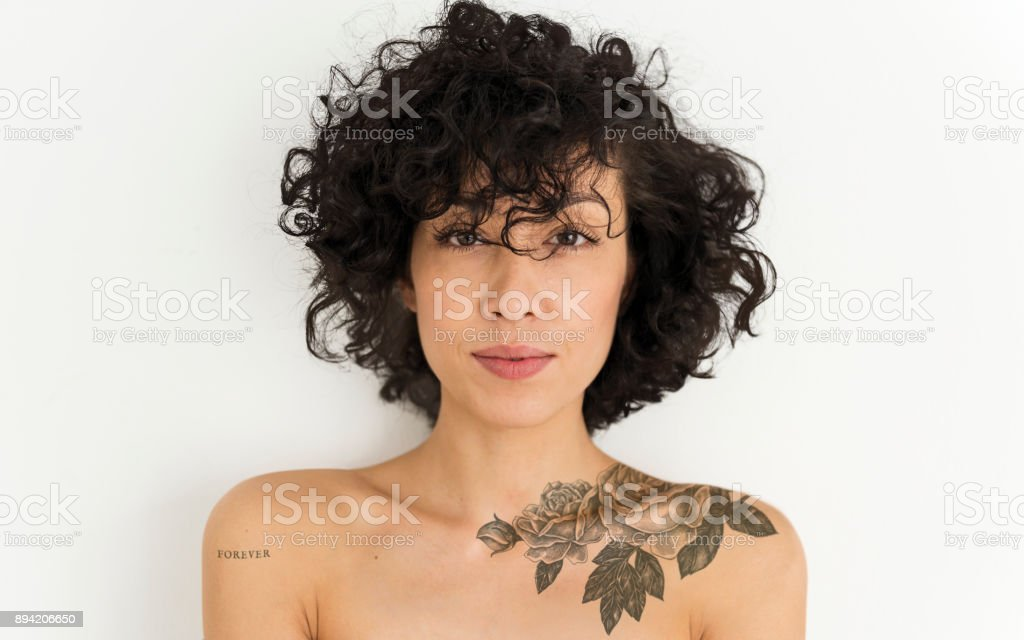 Portrait of a tattooed woman stock photo