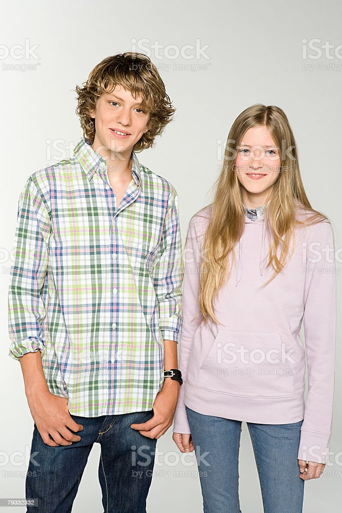 Portrait of a teenage boy and teenage girl 免版稅 stock photo