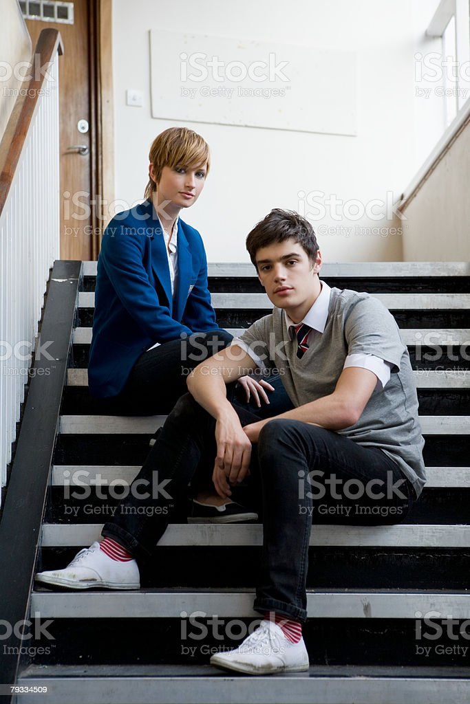 A portrait of a teenager boy and girl royalty-free stock photo