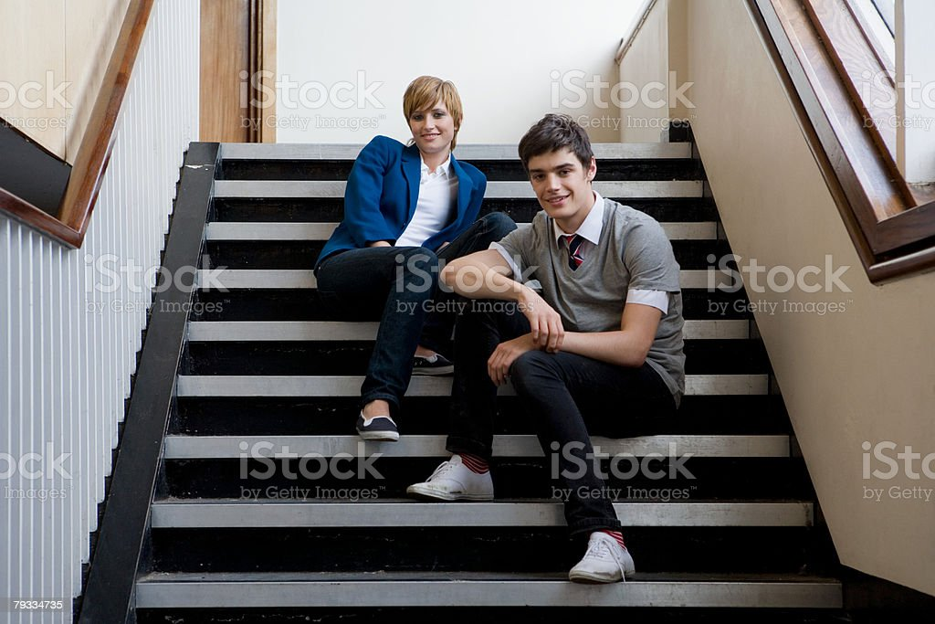 A portrait of a teenager boy and girl 免版稅 stock photo