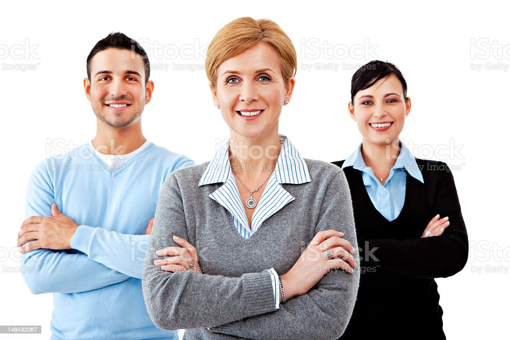 Portrait of a three person business team with arms crossed stock photo