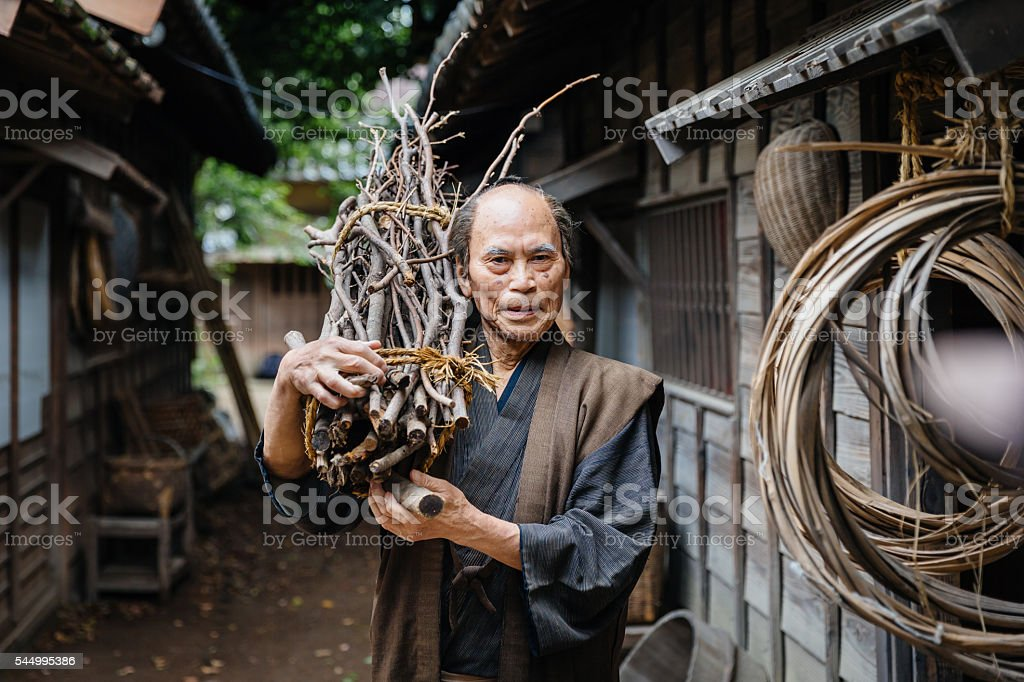 Portrait of a traditional japanese man in edo period town stock photo