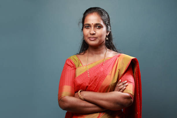 Portrait of a traditionally dressed Happy South Indian woman stock photo