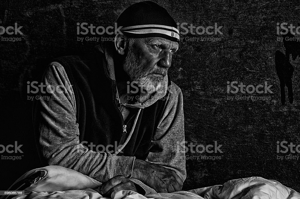 Portrait of a tramp royalty-free stock photo