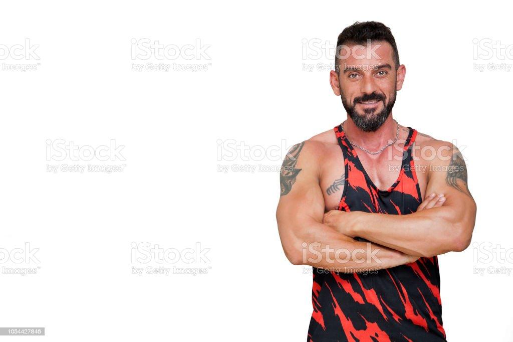 Beyaz arka plan üzerinde izole Türk atletik erkek portresi. stok fotoğrafı