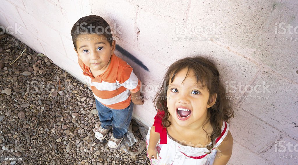 Portrait of a two children playing stock photo