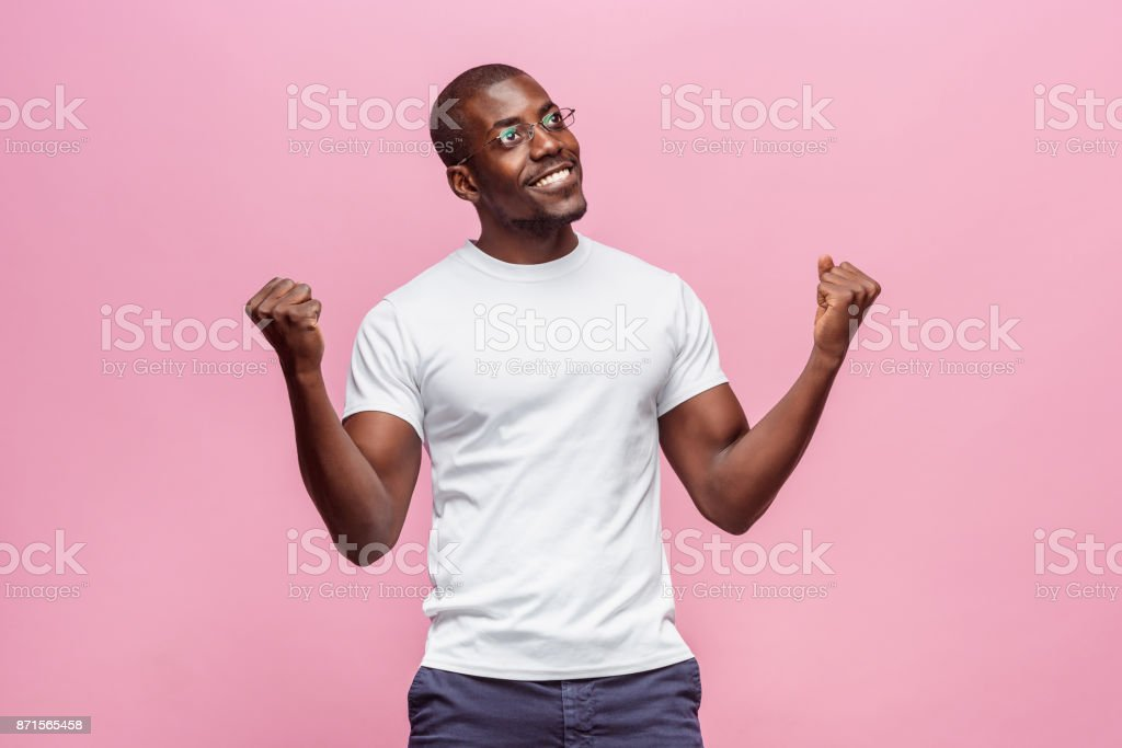 Portrait of a very happy afro American man stock photo