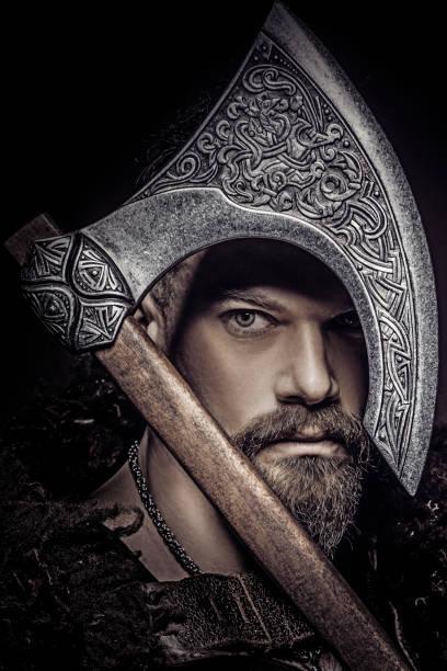 Portrait of a viking warrior stock photo