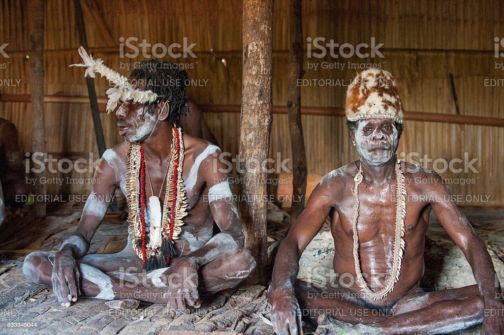 Portrait of a Warrior Asmat tribe in traditional headdress. stock photo