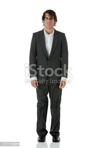 Portrait of a wet businessman