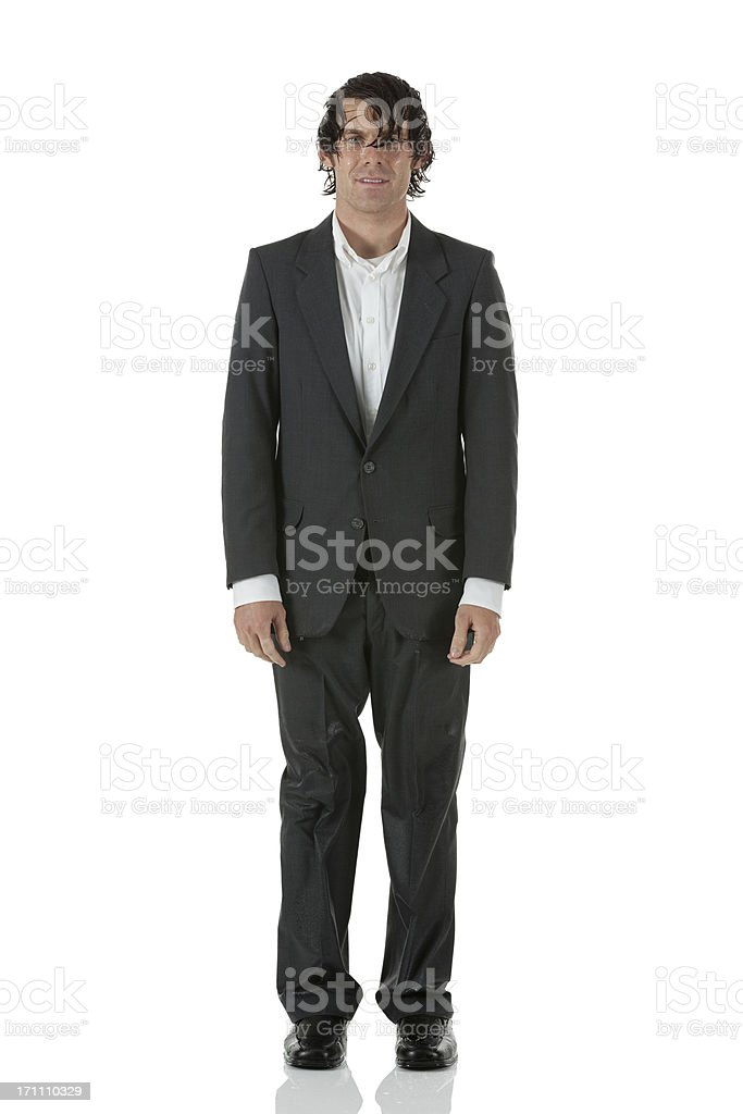 Portrait of a wet businessman stock photo