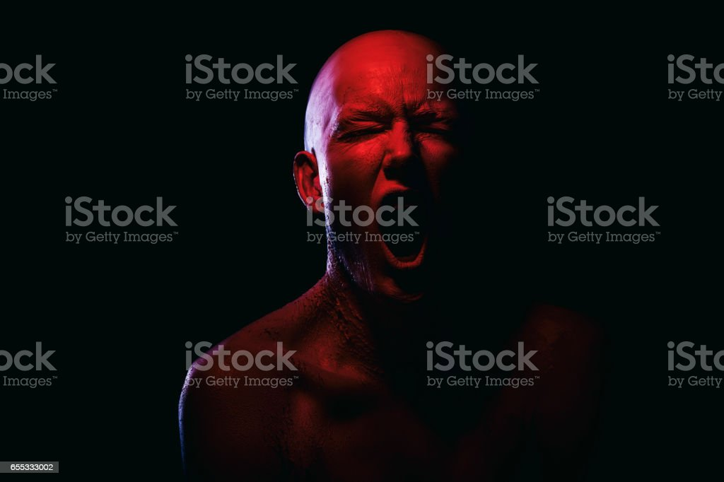 Portrait of a white/red human stock photo