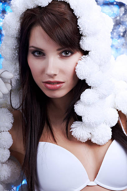Portrait Of A Winter Woman Pom Pon Hat Stock Photo