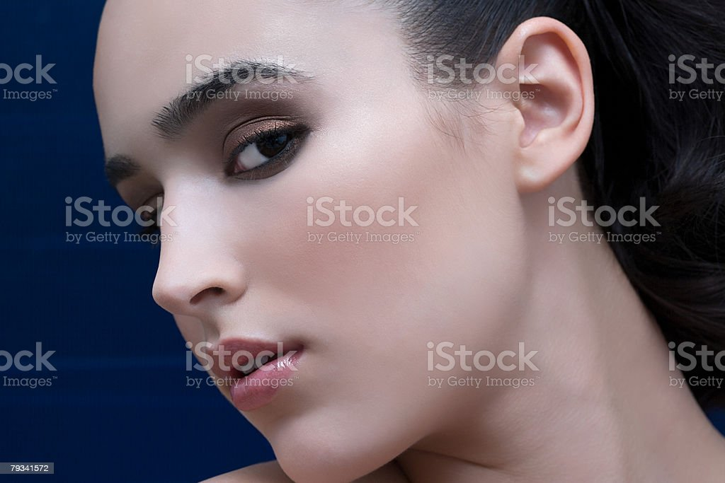 Portrait of a woman and a computer screen 免版稅 stock photo