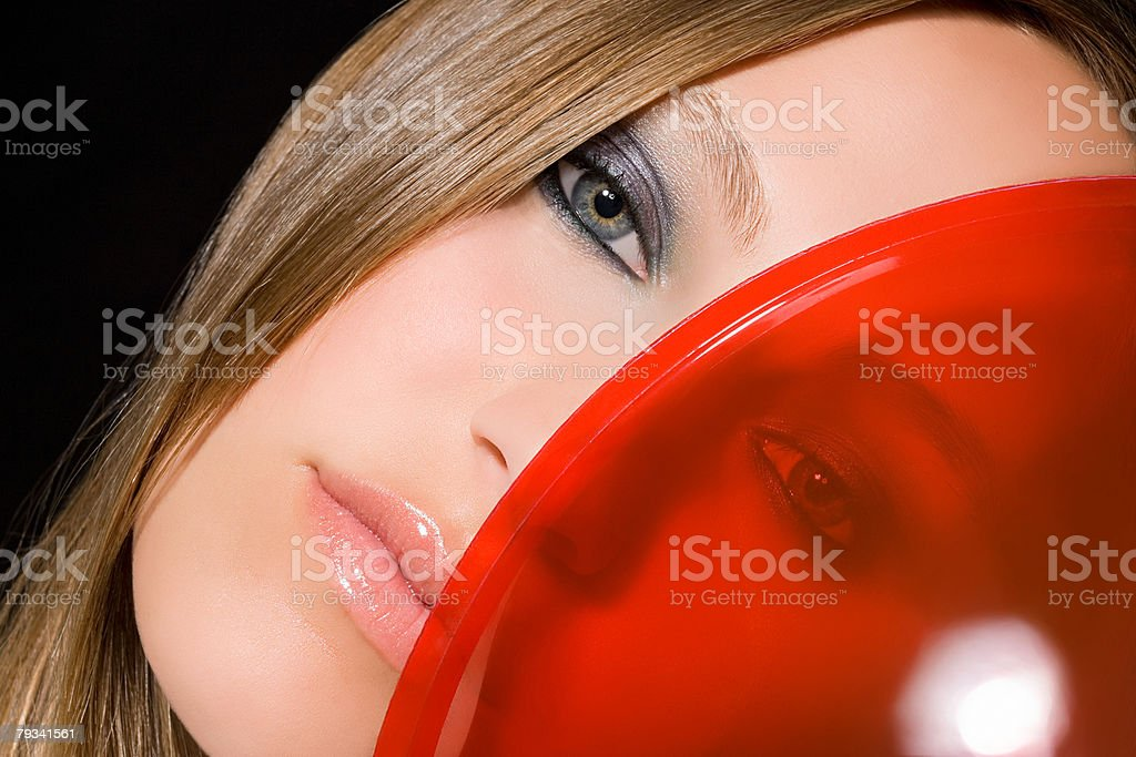 Portrait of a woman and plastic 免版稅 stock photo