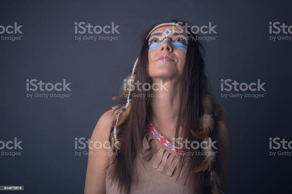 Portrait of a woman dressed up as an indian stock photo