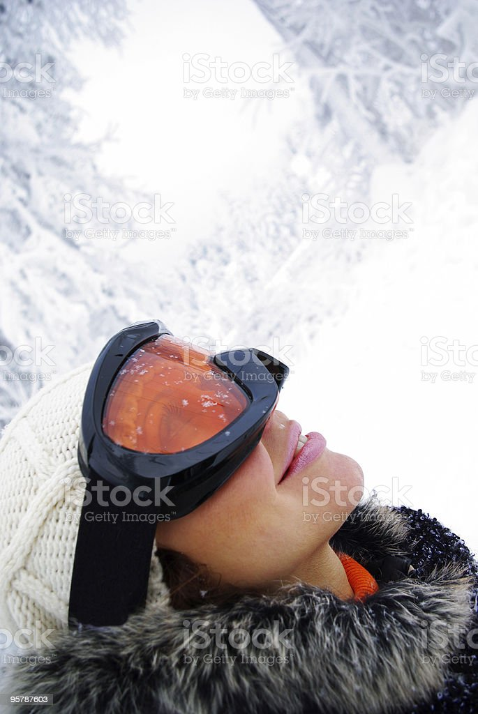 Portrait of a woman in skiing royalty-free stock photo