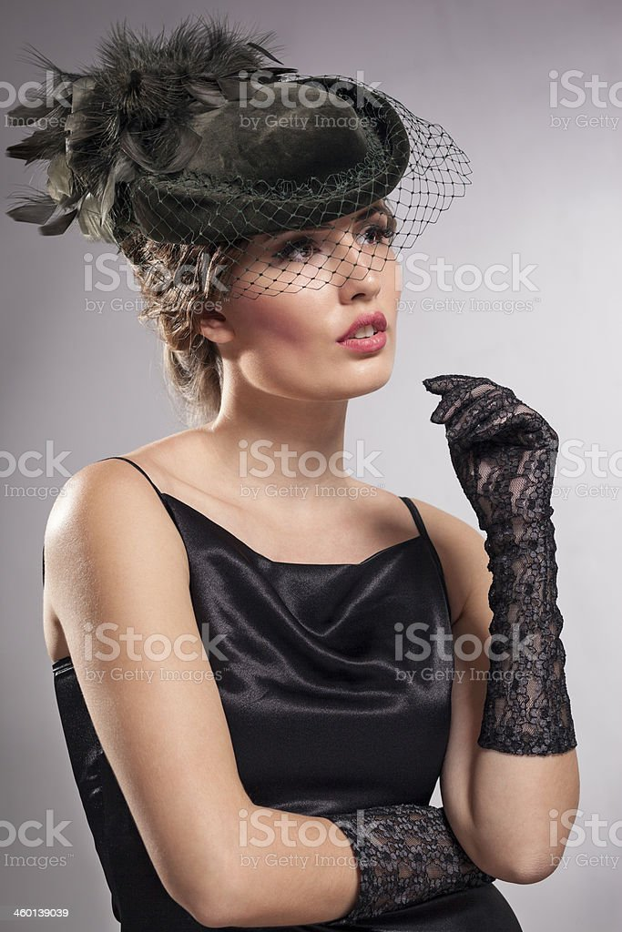 Portrait of a woman in vintage clothes stock photo
