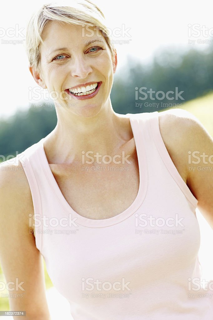 Portrait of a woman smiling royalty-free stock photo